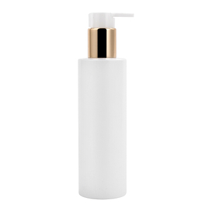 200ML White Round PET Lotion Pump Bottle with Electroplated Collar