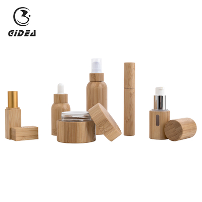 China Bamboo Cosmetic Packaging Set Wholesale For Skin Care High Quality Bamboo Glass Cosmetic Packaging