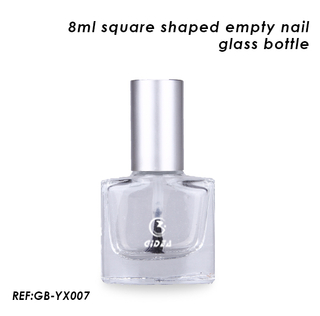 8ml Empty Square Glass Nail Polish Bottle with Silver Cap