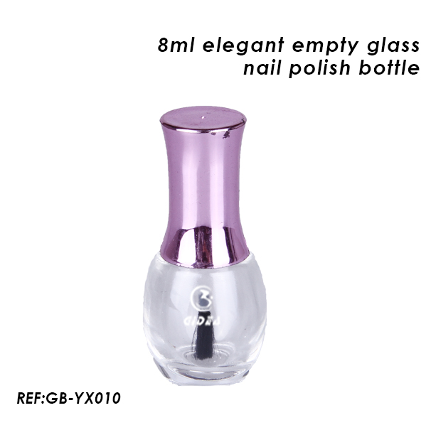 8ml Empty Elegant Glass Bottle Nail Polish with Unique Design Shiny Purple Cap