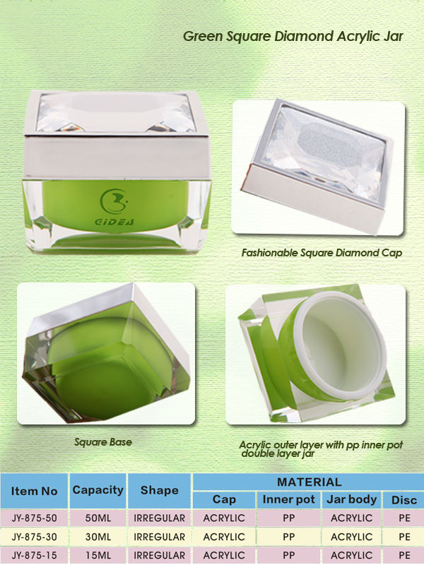 15ml 30ml 50ml Square Cosmetic Jar