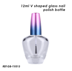 12ml Empty V Shaped Nail Glass Bottle with Gradient Cap