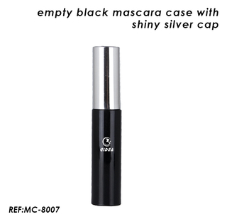 Empty Black Plastic Mascara Cases with Shiny Silver Cap