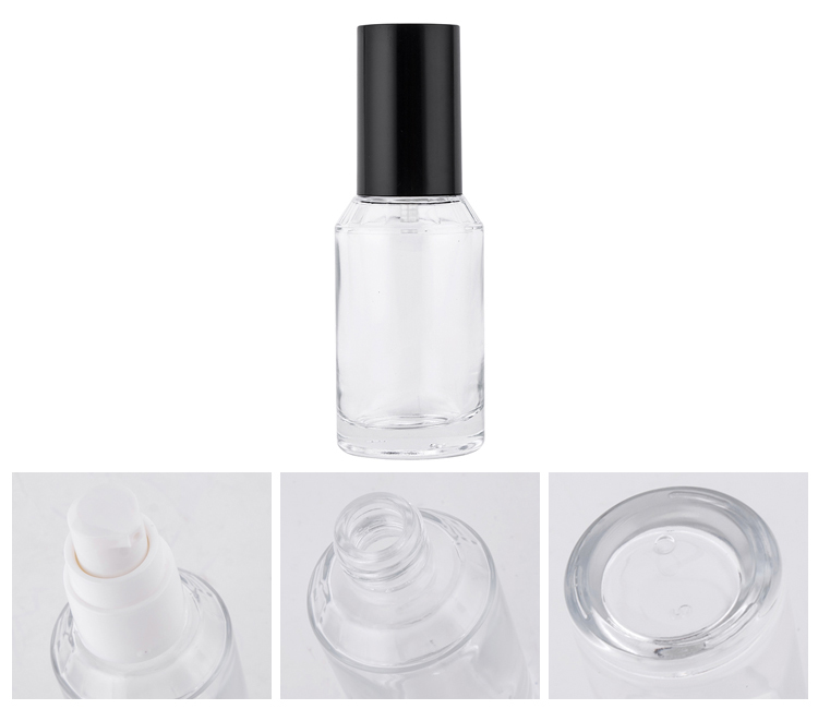 50ml 120ml Black Cap Transparent Body Lotion Bottle Cosmetic Glass